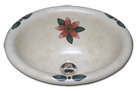 plumeria hand painted sink