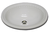 BE oval sink with romanesque border on chamfer 15 3/4 x 19 1/2