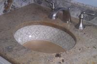 CU cstm 500 installed under mount sink hand painted