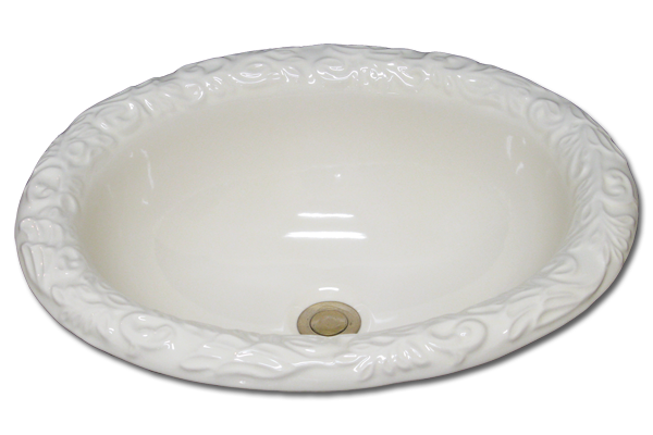 DB: oval basin with acanthus rim 16 1/2 x 20 1/4