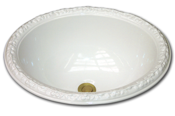 "R: Oval basin with raised floral rim 14 1/2"" x 17 1/2"""