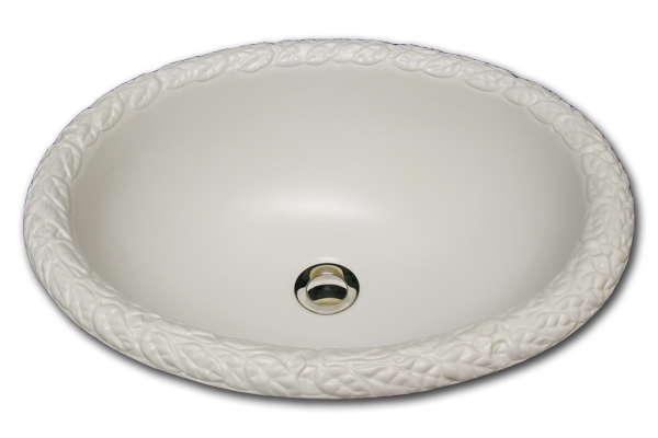 "AB: Oval basin with reeds rim 14 1/2"" x 17 1/2"""