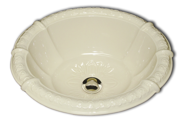 ME: fluted oval romanesque relief rim and drain 14 1/2 x 17/ 1/2