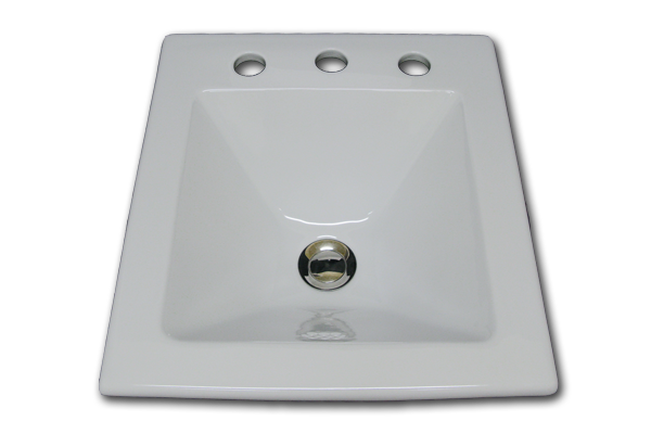 YB square with faucet holes 17 1/2  x  15