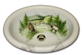 bathroom sink fluted bowl hand painted animal theme