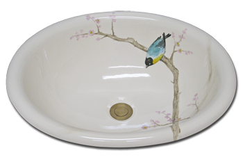 Bathroom Sink Fluted Bowl Hand Painted Bird On Branch