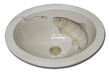 hand painted bathroom sink fish theme